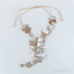 Modern Mother-of-pearl and Leather Necklace