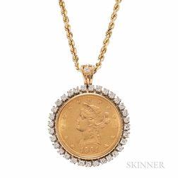 1901 $10 Liberty Head Gold Eagle and Diamond Pendant