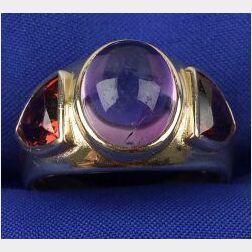 Gentleman's 14kt Gold and Gem-set Ring