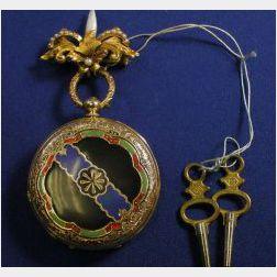 14kt Gold and Enamel Hunting Case Pocket Watch, Huguenin, Le Locle