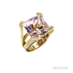 19kt Gold, Kunzite, and Diamond Ring, Elizabeth Locke