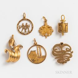 Group of Gold Pins and Charms