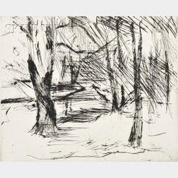 Lovis Corinth (German, 1858-1925)      Bäume mit Sonne (Winter in Tiergarten)