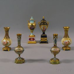 Six Small Continental Vases and Urns