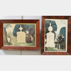 Two Currier 19th Century Memorial Hand-colored Lithographs