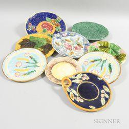 Nine Majolica Ceramic Plates