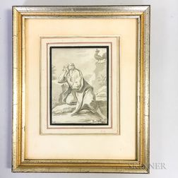 Framed Drawing of St. Sebastian