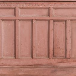 Four Carved and Salmon Red-painted Architectural Wainscot Panel Sections