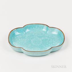 Turquoise Blue-glazed Dish with White Slip Decoration