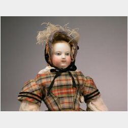 Early Huret Bisque Painted Eye Lady Doll