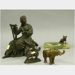 Bronze Fox Mounted Onyx Ashtray, Metal Horse, Elephant and a Metal Classical Figure.