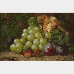 Attributed to Charles Thomas Bale (British, d. 1875)  Still Life with Grapes, Plums and Strawberries