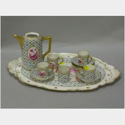 Twelve-piece Dresden Gilt Handpainted Porcelain Partial Chocolate Set with Tray.