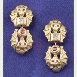 18kt Gold, Ruby and Diamond Bat Day/Night Earpendants, B. Kieselstein-Cord