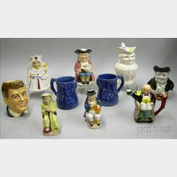 Seven Ceramic Toby Jugs, a Pair of Mugs, and a Teapot