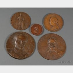Five Bronze Presentation Medallions