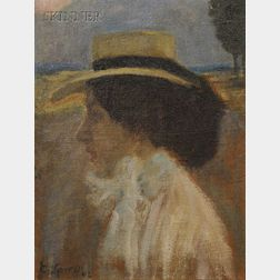 Eugene Spiro (German/American, 1874-1972)      Young Woman in Profile/A Portrait of the Artist's Sister