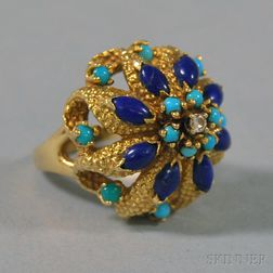 Lucien Piccard 14kt Gold, Turquoise, Lapis, and Diamond Cluster Ring
