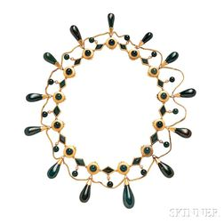 14kt Gold and Bloodstone Necklace