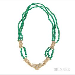 18kt Gold, Emerald Bead, and Diamond Necklace
