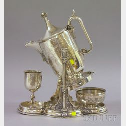 Classically Decorated Reed & Barton Tipping Ice Water Pitcher, Water Glass, and Bowl