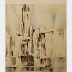 "Earl ""Bill"" Horter (American, 1881-1940)      Cubist Village with Church Tower"