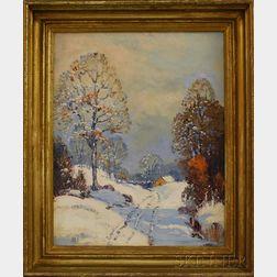 Ernest T. Fredericks (American, 1877-1959)      Snowy Farm.