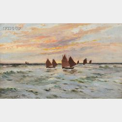 Joseph Hughes Clayton (British, 1870-1930)      Sailboats Under a Pink Sky