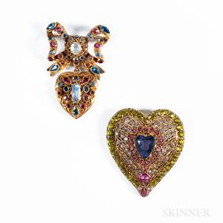 Two Rhinestone-set Heart Costume Brooches