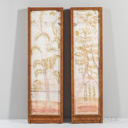 Two Painted Plaster Wall Panels