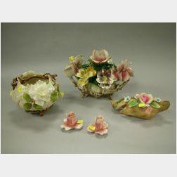 Five Porcelain Floral Encrusted Figural Groups