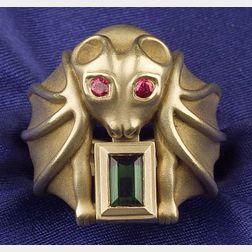 "18kt Gold, Green Tourmaline and Ruby ""Bat"" Ring, B. Kieselstein Cord"