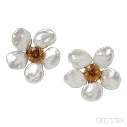 18kt Gold, Citrine, and Freshwater Pearl Earrings, Seaman Schepps