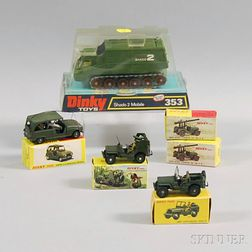 Six Meccano Dinky Toys Die-cast Metal Military Vehicles