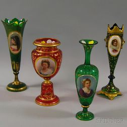 Three Bohemian Green Glass Portrait Vases and Bohemian Red Glass Portrait Vase