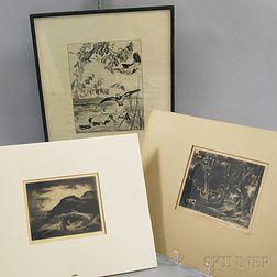 Three Intaglio Prints:      David Lucas (British, 1802-1881) After John Constable, A Dell, Helmingham Park, Suffolk