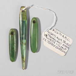 Three Maori Jade Ear Ornaments