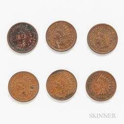 Six 1860s Indian Head Cents