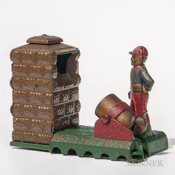 """Cast Iron Mechanical """"Artillery Bank,"""""""