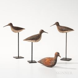 Four Carved and Painted Shorebird Decoys