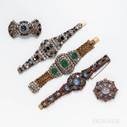 Five Pieces of Costume Jewelry Attributed to Hobe