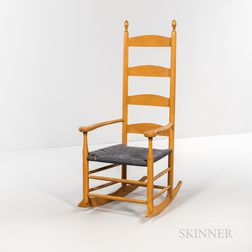 Small Yellow-painted Reproduction Shaker Armed Rocking Chair