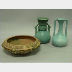 Roseville Pottery Florentine Bowl, Carnelian Vase and a Trenton Pottery Vase.