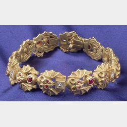 "18kt Gold, Diamond and Ruby ""Bat"" Bracelet, B. Kieselstein-Cord"