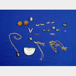 Group of Fifteen Pearl, Nephrite, Coral, and Gold Jewelry Items