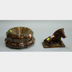 Two Rockingham Glazed Pottery Items