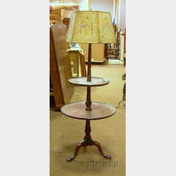 Federal-style Mahogany Dish-top Two-Tier Dumbwaiter Floor Lamp with Decorated Mica Paneled Shade.