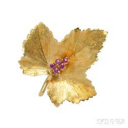 18kt Gold and Ruby Leaf Brooch, Tiffany & Co.
