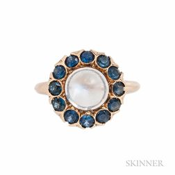 14kt Gold, Moonstone, and Sapphire Ring