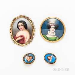 Two Antique Portrait Brooches and a Pair of 14kt Gold and Enameled Porcelain Cherub Earclips